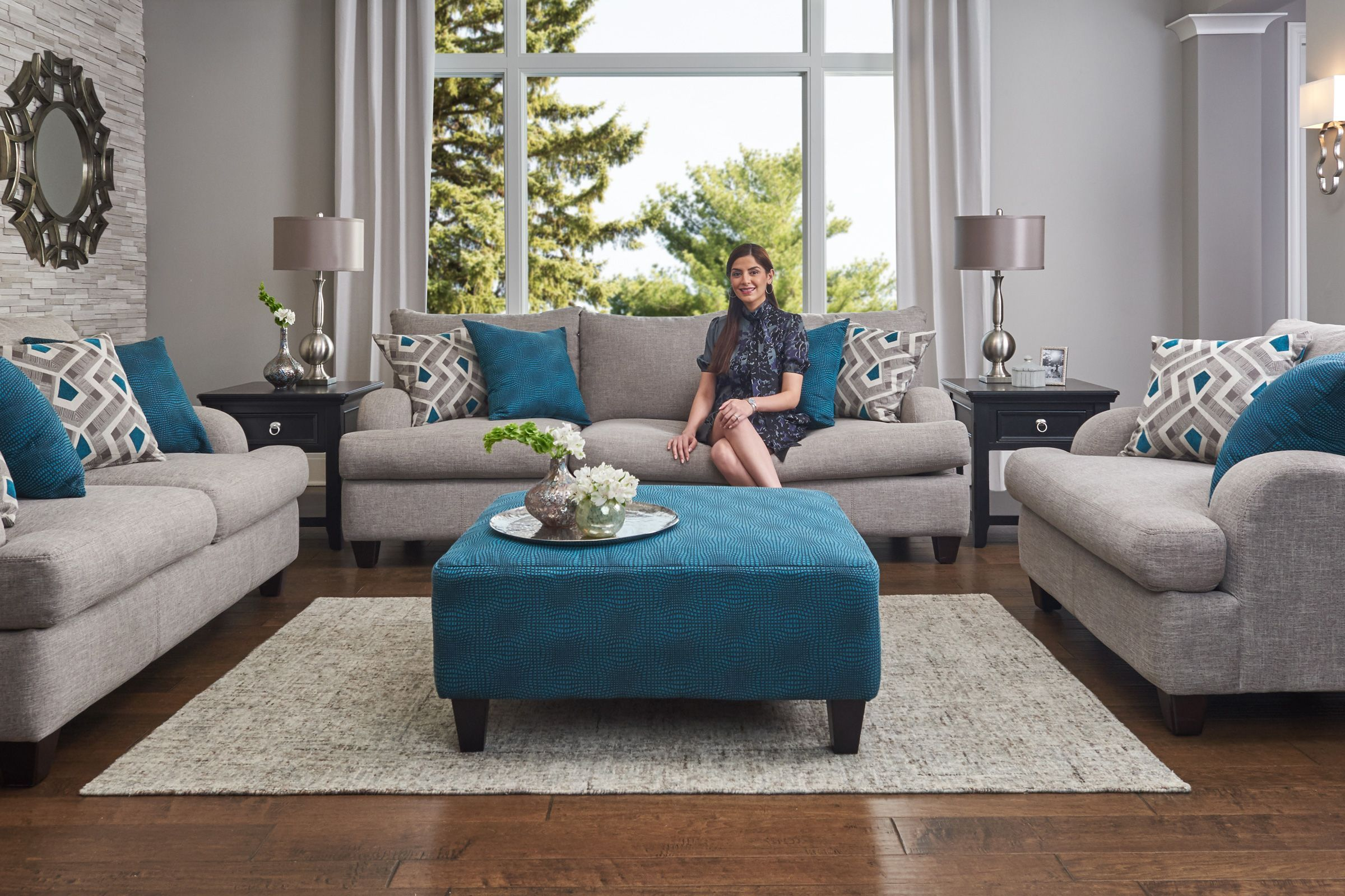 Paradise Ottoman In Jade At Gardner White In 2020 White Furniture Living Room Living Room Furniture Sofas Living Room Turquoise