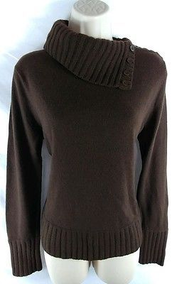 Jones New York NEW Brown Button Turtleneck Moreno/Cashmere Sweater ...