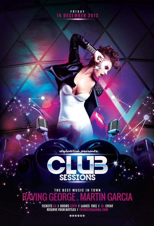 Club Sessions Flyer  Flyer Template Flyer Design Templates And