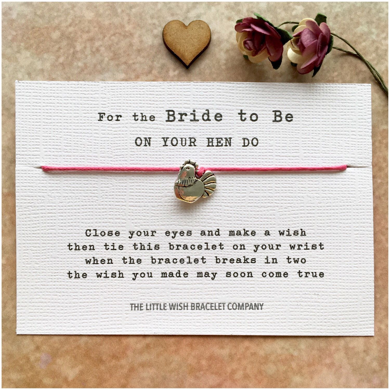 Wish Bracelet Hen Party Hen Party Favour Hen Do Personalised Bridesmaid Gift Wedding Bridal Party Personalised Wish Bracelet Wedding Gift