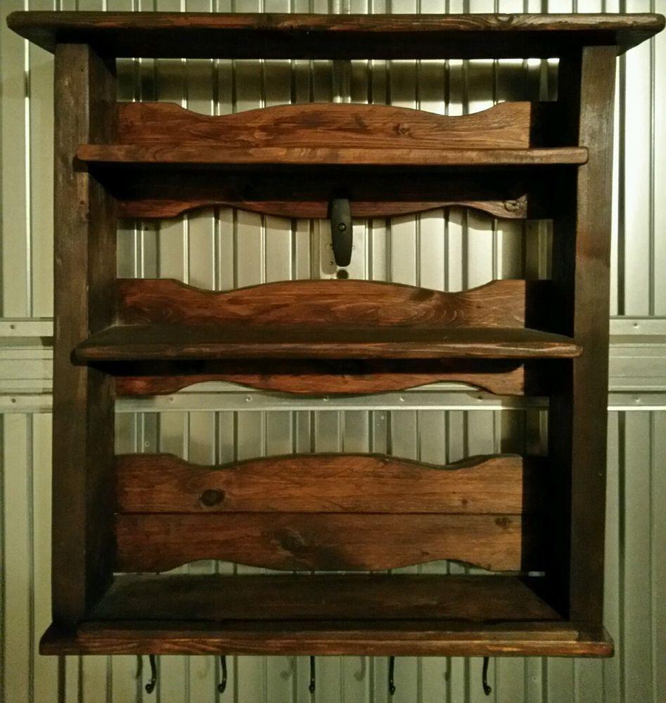 Piattaia mensola mobile cucina in legno artigianale color noce. in ...