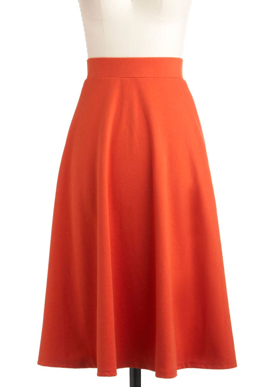 A O-Sway Skirt - Long, Orange, Solid, A-line, Work, Vintage Inspired, Fall
