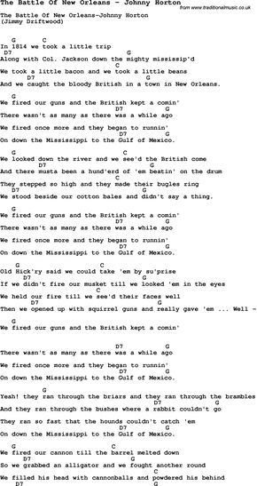 Song The Battle Of New Orleans By Johnny Horton With Lyrics For