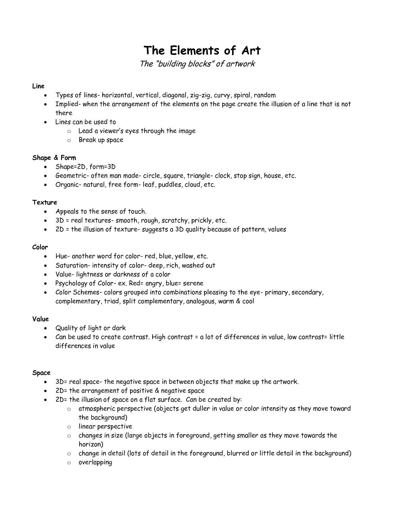 worksheet Elements Of Art Worksheet High School elements of design notes the art principles design
