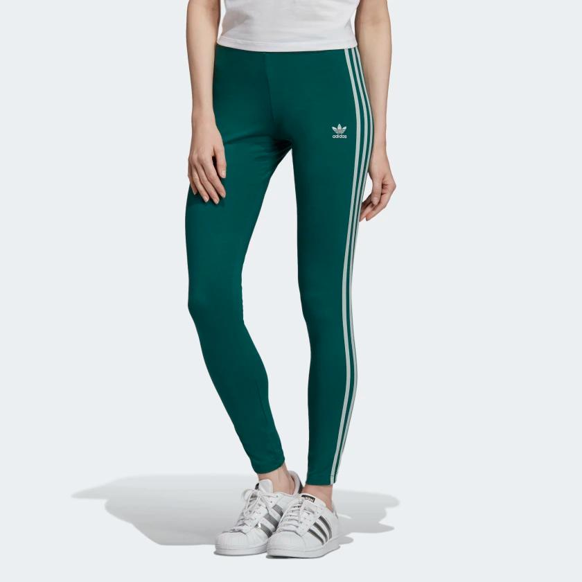 3-Stripes Leggings Green Womens #stripedleggings