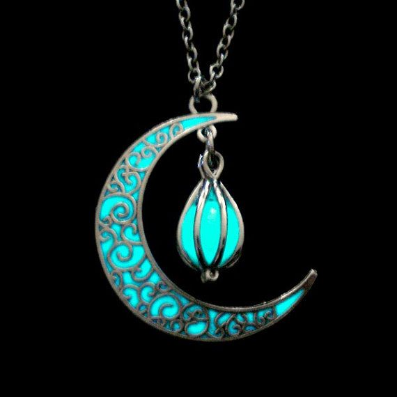 Crescent moon glowing heart necklace glow in the dark necklace crescent moon glowing orb necklace glow in the dark necklace moon orb jewelry aloadofball Images