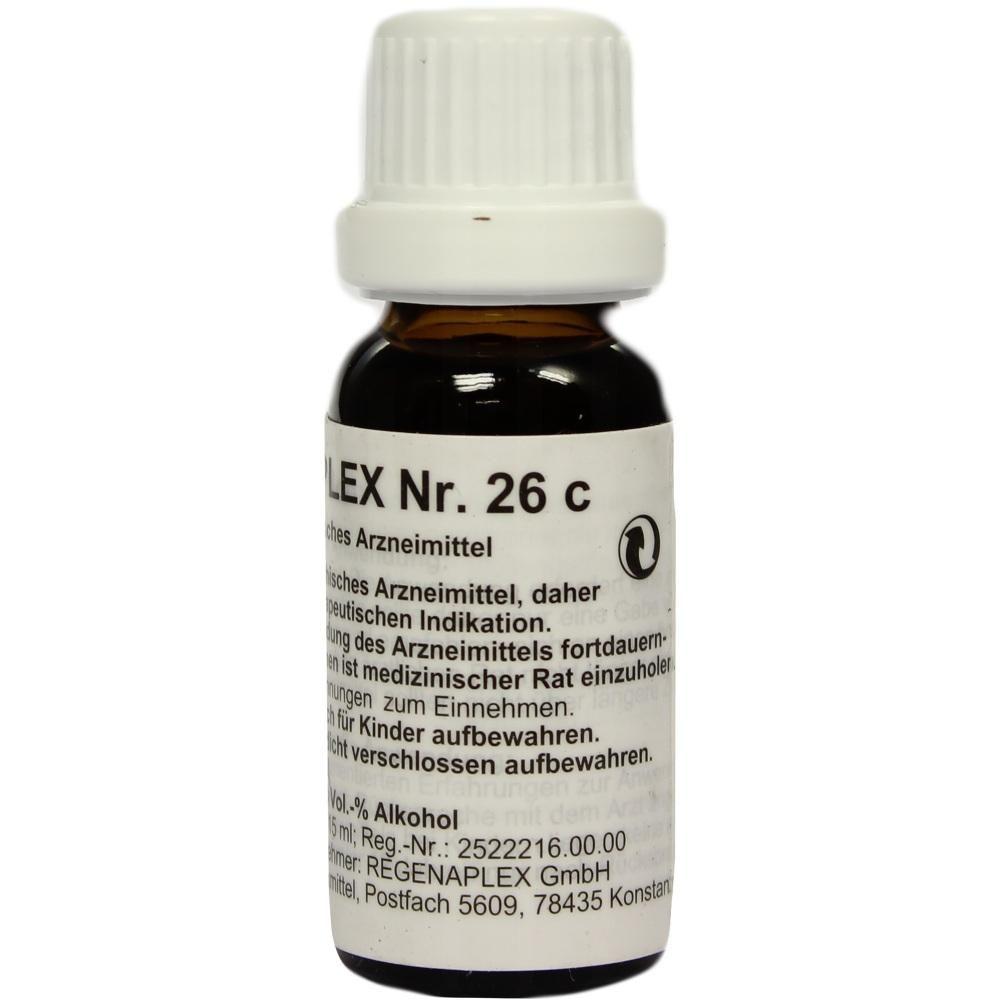 REGENAPLEX Nr.26 c Tropfen:   Packungsinhalt: 15 ml Tropfen PZN: 02642257 Hersteller: REGENAPLEX GmbH Preis: 7,69 EUR inkl. 19 % MwSt.…