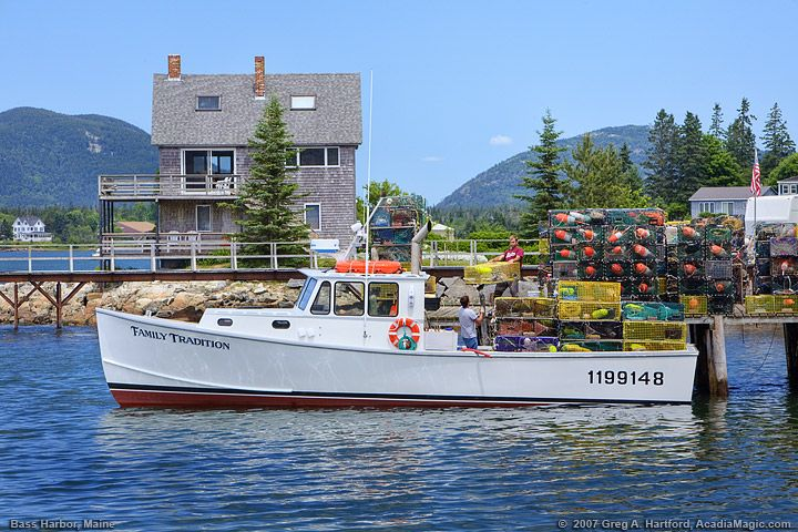 Maine lobster boat, traps and crew in Bass Harbor, Maine | American Charm | Bar harbor maine ...