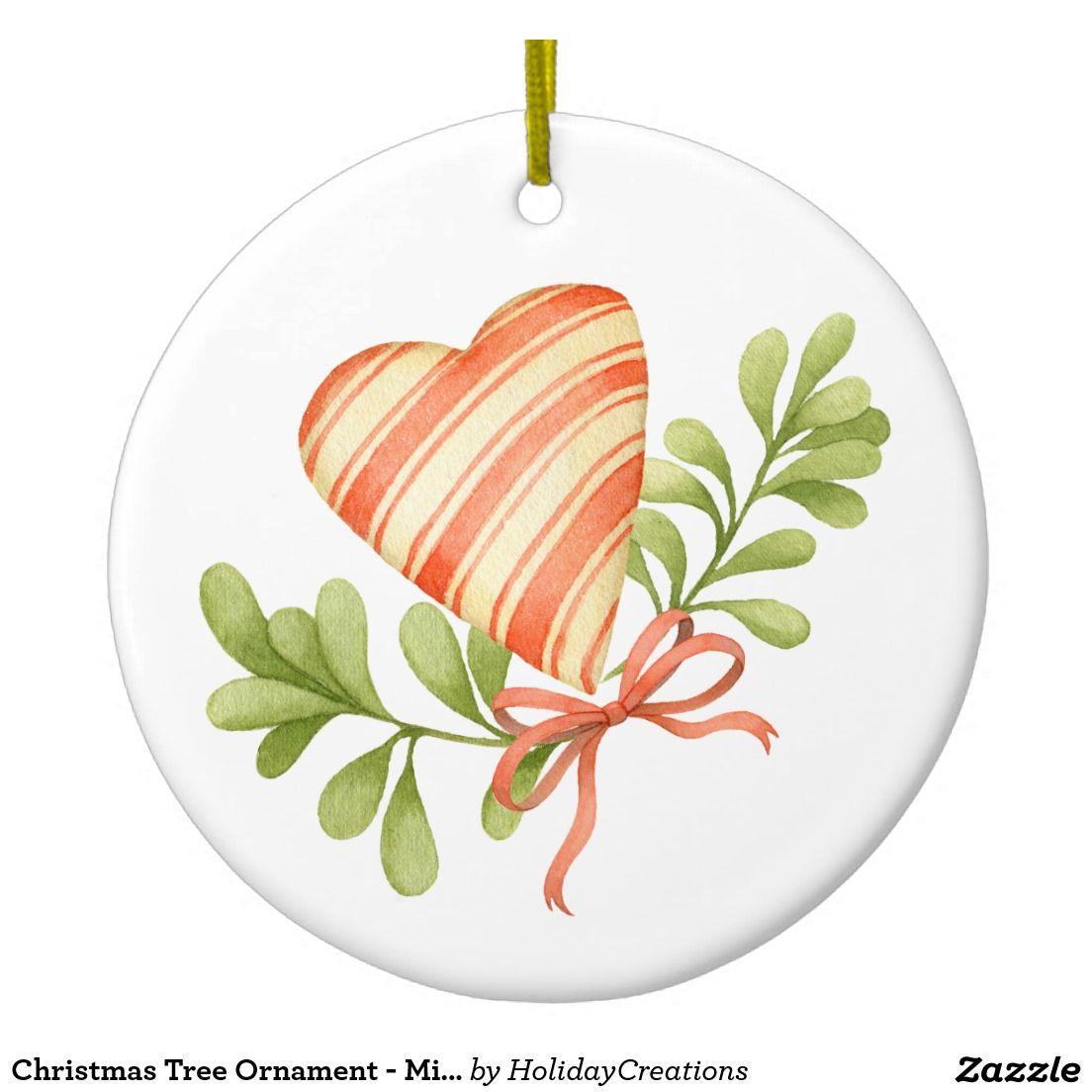 Christmas Tree Ornament - Mistletoe & Heart
