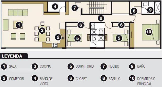 Plano para departamento de 120m2 6m x 20m proyectos for Plano oficina