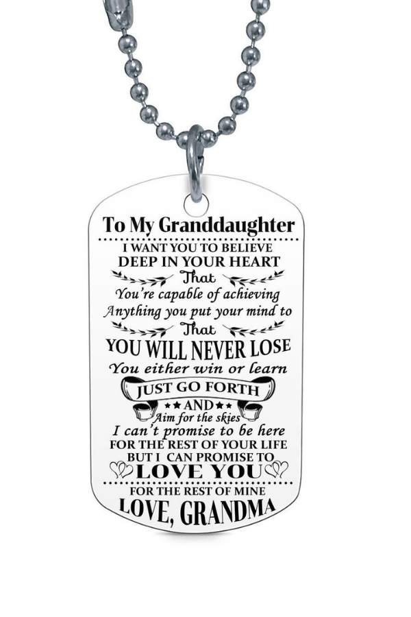 To My Granddaughter Love Grammie Dog Tag Necklace Birthday