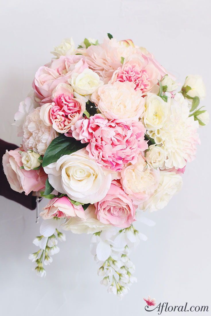 Silk Flower Bouquet in Pink, Cream, and White Hues | Bridal Bouquets ...