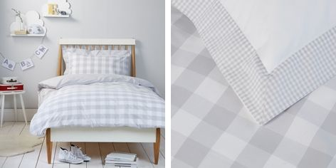 Kids Bedroom Linen buy gingham bed linen - cool grey - from the white company | beige