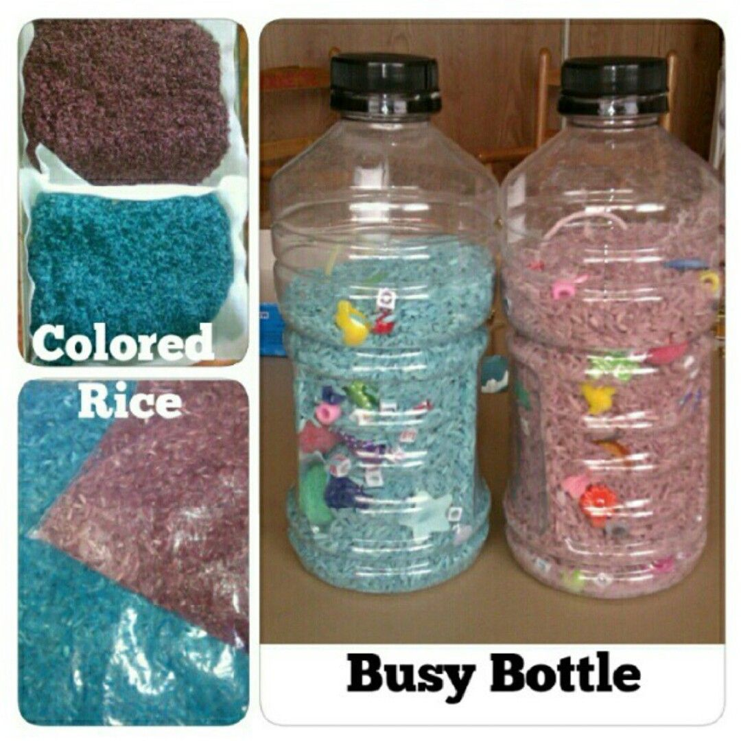 I colored some rice and put little toys into a clear clean bottle. Instant Busy Bottle!