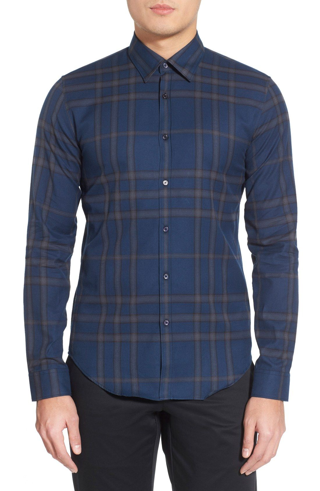 Burberry London Shelbon Trim Fit Flannel Sport Shirt Clothes
