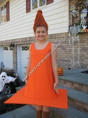 homemade traffic cone child halloween costume for this homemade traffic cone child halloween costume i placed an empty water bottle on my daughters head