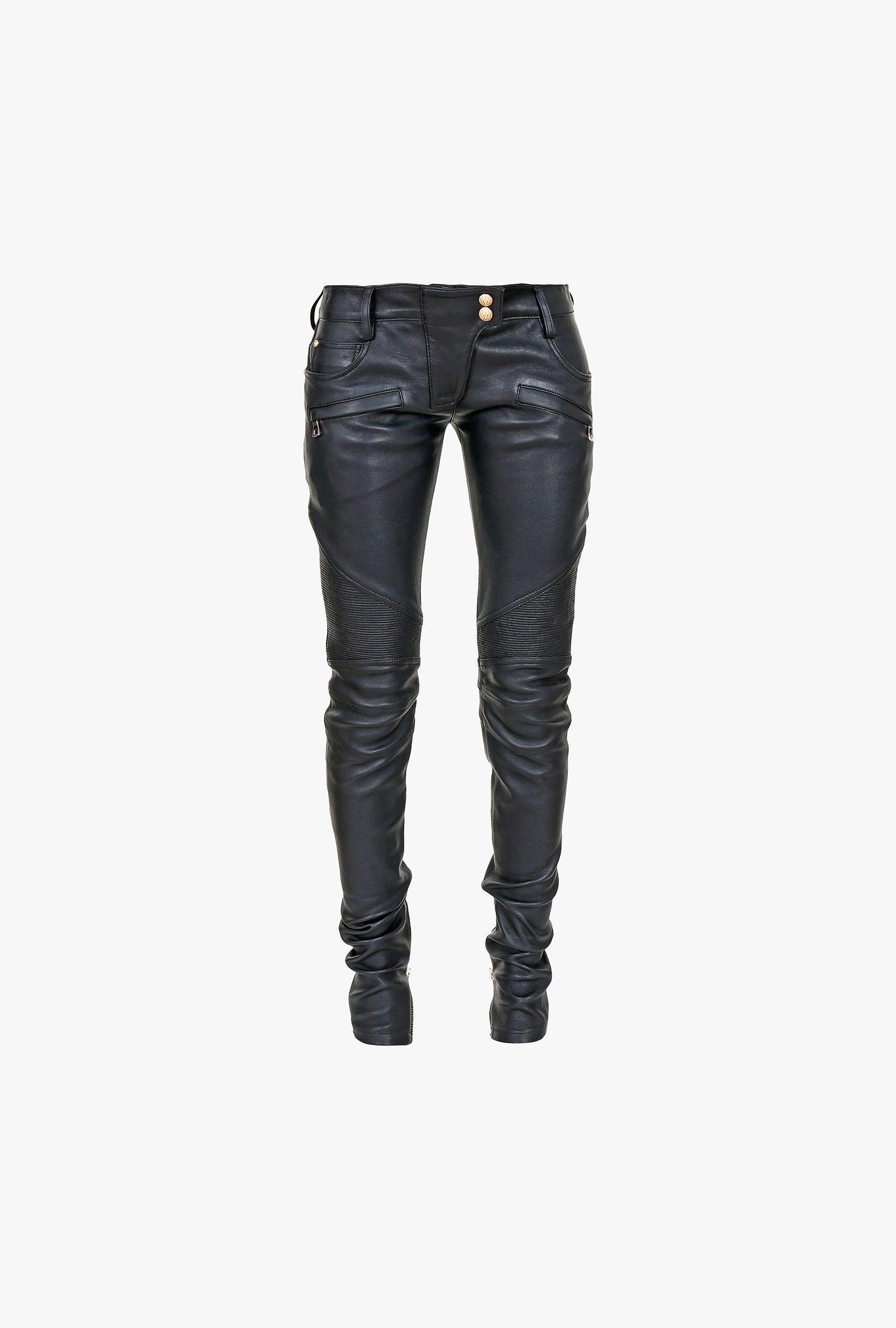 2436973719bbfd Balmain - Stretch leather biker pants - Women's leather trousers ...