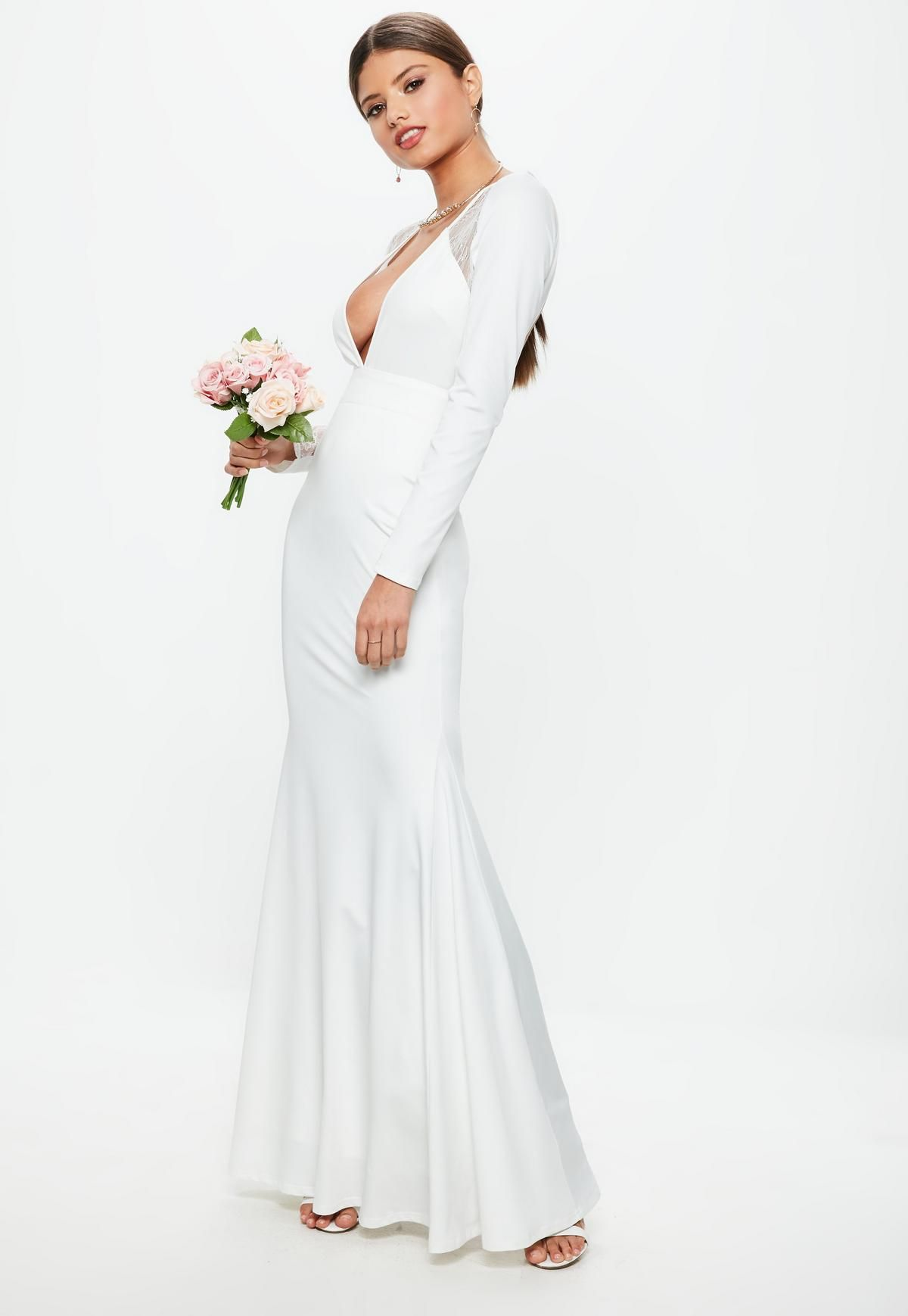 ac4d7c2da3 Bridal White Long Sleeve Plunge Open Back Lace Insert Maxi Dress ...