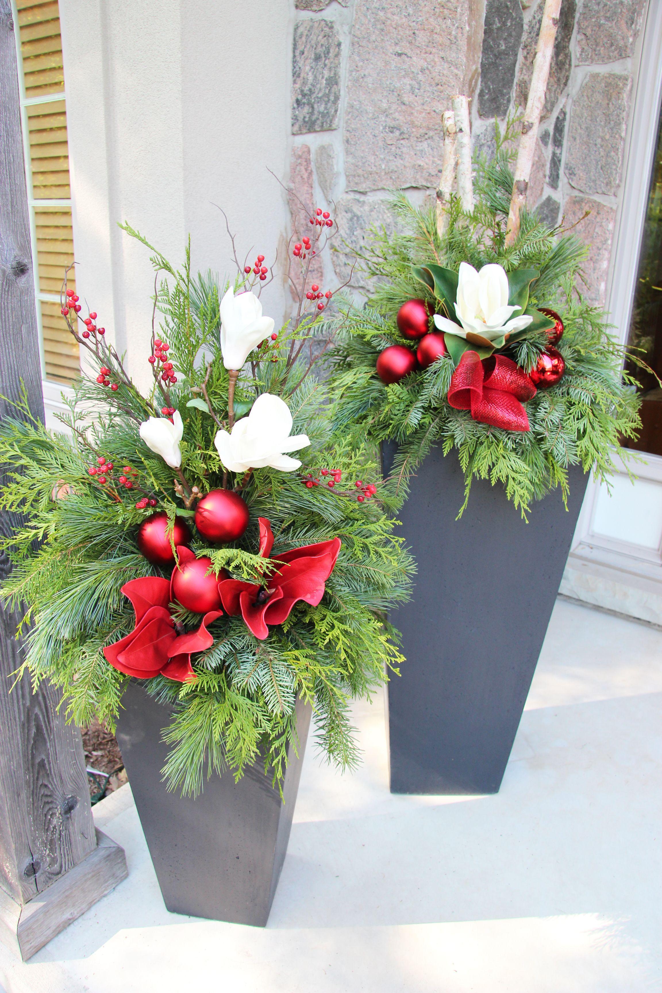 Outdoor Christmas Planter Christmas arrangements