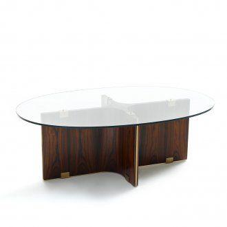 Tavolo da salotto in legno rivestito di pergamena od essenza con