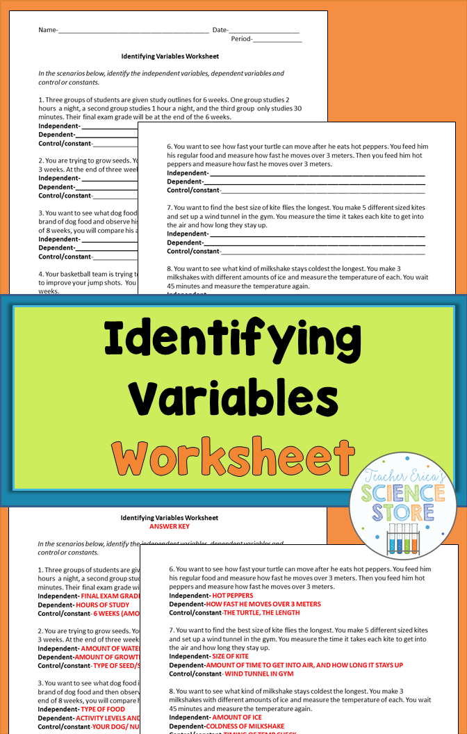Identifying Variables Worksheet | Teacher Erica's TpT Products ...