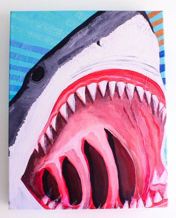 Great White Shark Giclee Art Print of Original by MangoSeed, $125.00