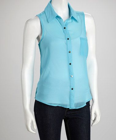 Take a look at this Aqua Lace Back Sleeveless Button-Up by Grass on #zulily today!