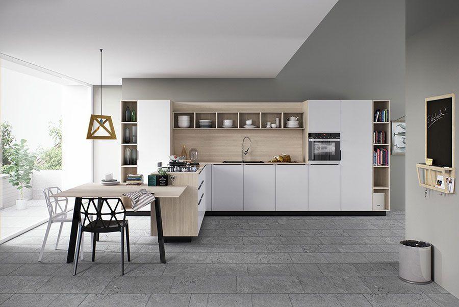Modello di cucina bianca e legno moderna n.06 | Cucina | Pinterest ...