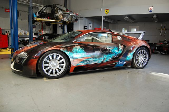 Auto wraps custom vehicle wrap on a bugatti veyron in las vegas nv www