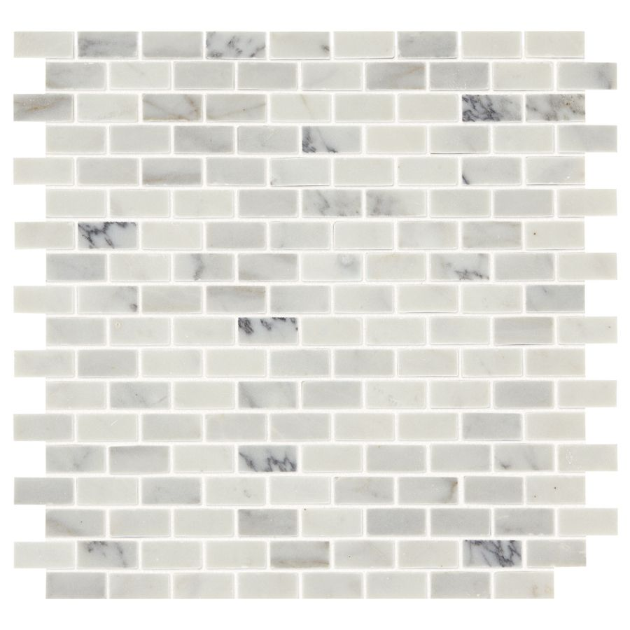 Shop American Olean Genuine Stone Refined White Brick Mosaic Marble Floor And Wall Tile Common X Actual