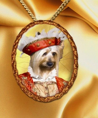 I don't even have any words for this. Silky Terrier Pendant Necklace Porcelain Handcrafted