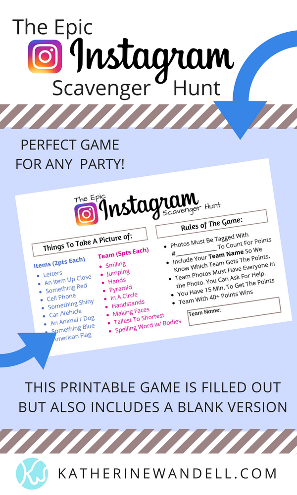 photo regarding Free Printable Birthday Games for Adults known as The Epic Instagram Scavenger Hunt Recreation (Totally free Printable