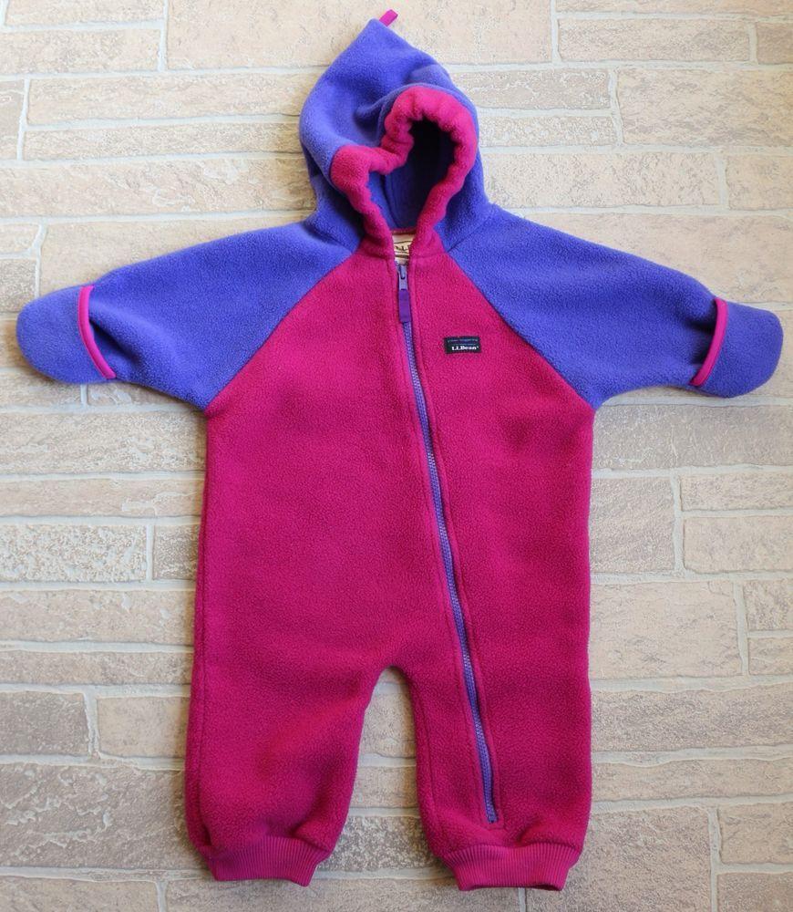 f4aafd854cec LL Bean Pink Magenta Blue Fleece Bunting Snowsuit Girls 18 Months ...