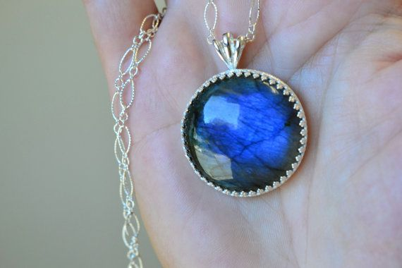 Natural LABRADORITE Pendant Necklace. 925 Sterling Silver. High Quality Gemstones. Great Gift