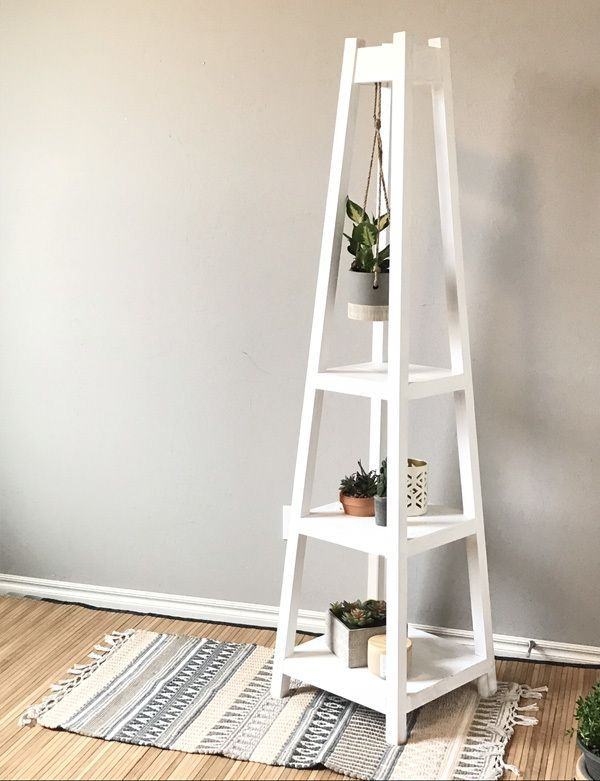 DIY Plant Stand is part of Diy furniture plans, Home diy, Diy wood projects, Home decor, Diy furniture, Furniture diy - Hey guys, it's Ashley from HandmadeHaven com  Today I'm sharing a fun project; a DIY plant stand  This is a great beginner project and super fun to build  Check out the video to see how I built this DIY plant stand and then head over to my DIY Plant Stand blog post over at HandmadeHaven com for the full build walkthrough