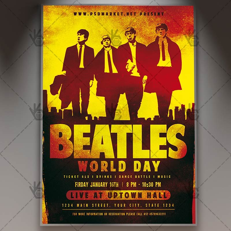Beatles World Day  Club Flyer Psd Template Beatles