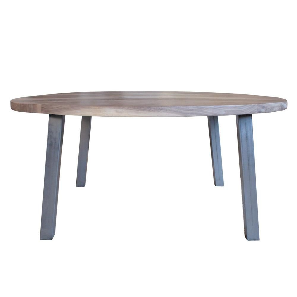 Prime Round Walnut Wood And Metal Coffee Table Straight Tube Caraccident5 Cool Chair Designs And Ideas Caraccident5Info