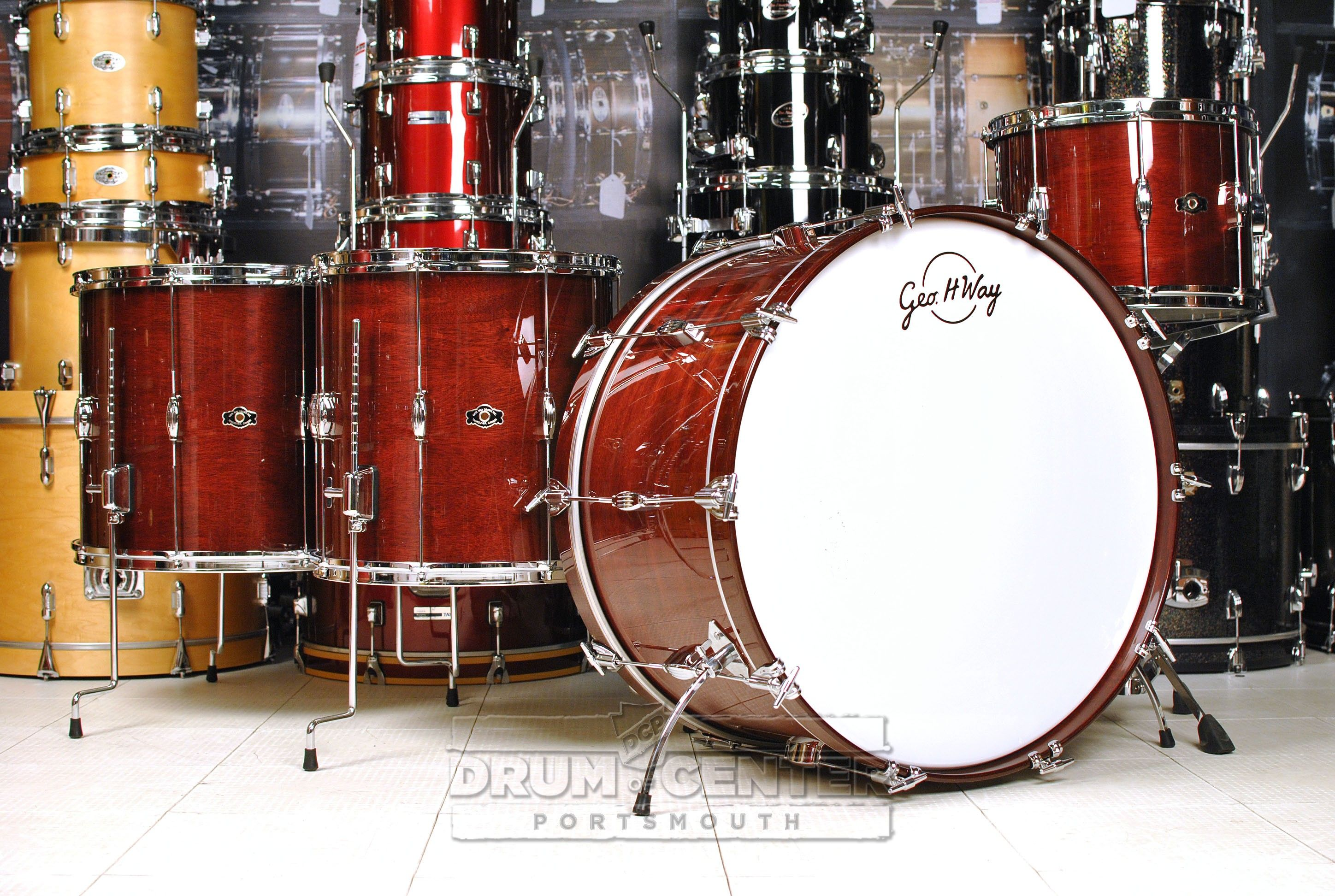 George Way Tradition Mahogany Drum Set 26 13 14 16 18 Wine Red Gloss Drums Drum Set Wine Red