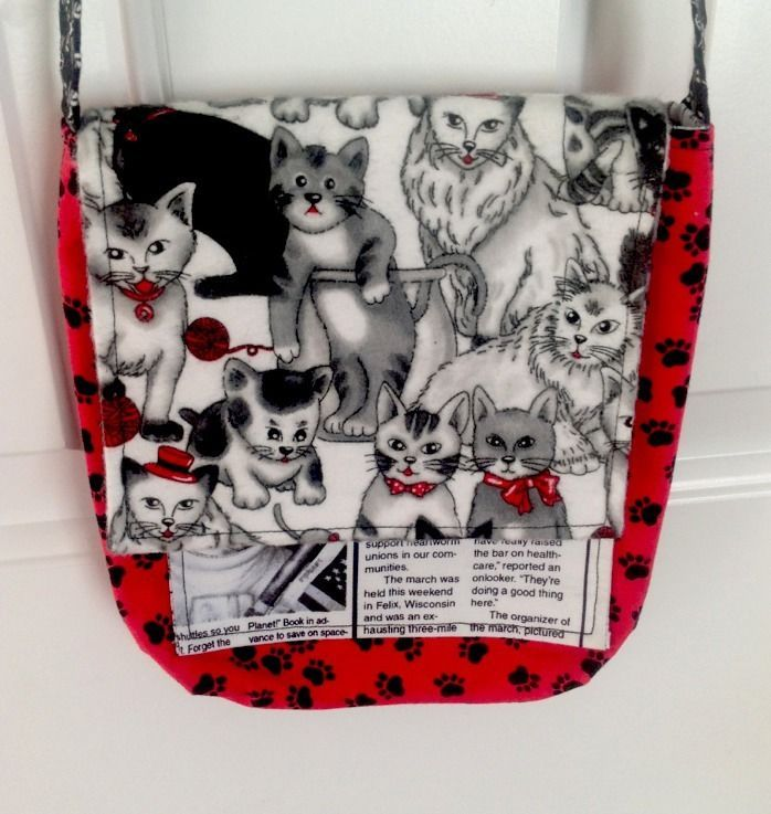 Kitty Cat Womens Girls Purse Handmade Black Red White Paw Prints 8X7in  20x19cm  Handmade  Kitty  Cat 2902375d2b0ef