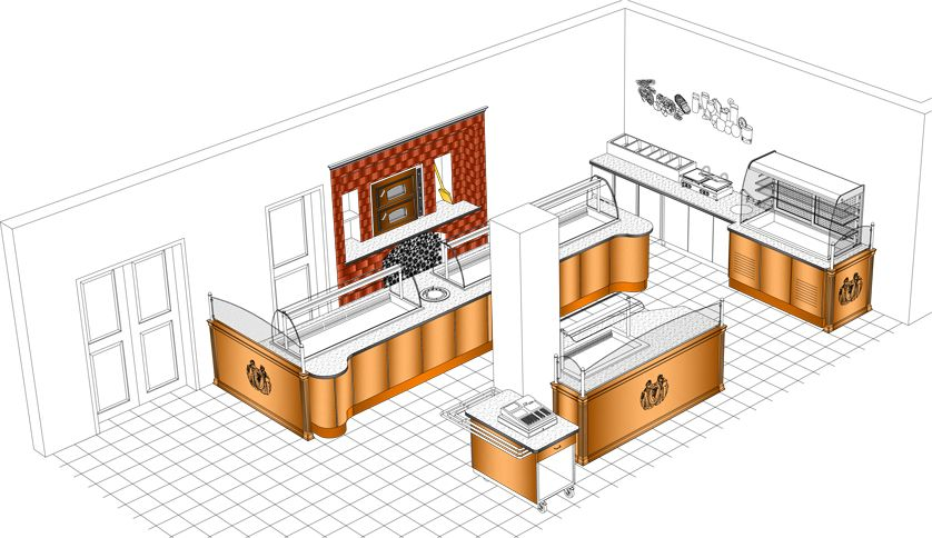 self serve hot and cold buffet layout with cash register