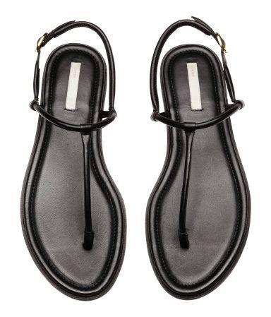Leather toe-post sandals | Black