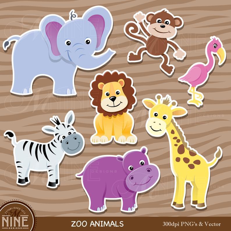 Zoo Animal Sticker Clip Art Zoo Animals Clipart Downloads Etsy Animal Clipart Zoo Animals Animal Stickers