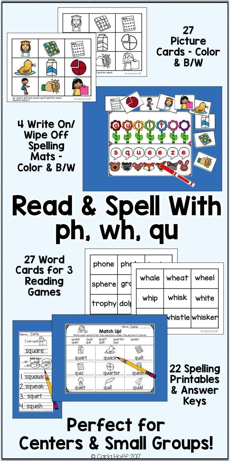 Practice Reading And Spelling Words With Digraphs Ph Wh And Qu Using This Versatile Set Of Spelling Mats Picture Spelling Words Variant Vowels Word Work Fun