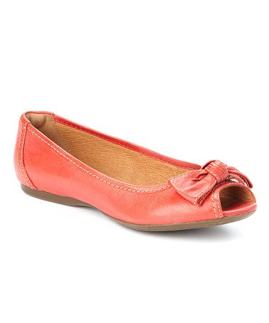 Take a look at this Red Aldea Joy Peep-Toe Flat - Women by Clarks on #zulily today! $27.99
