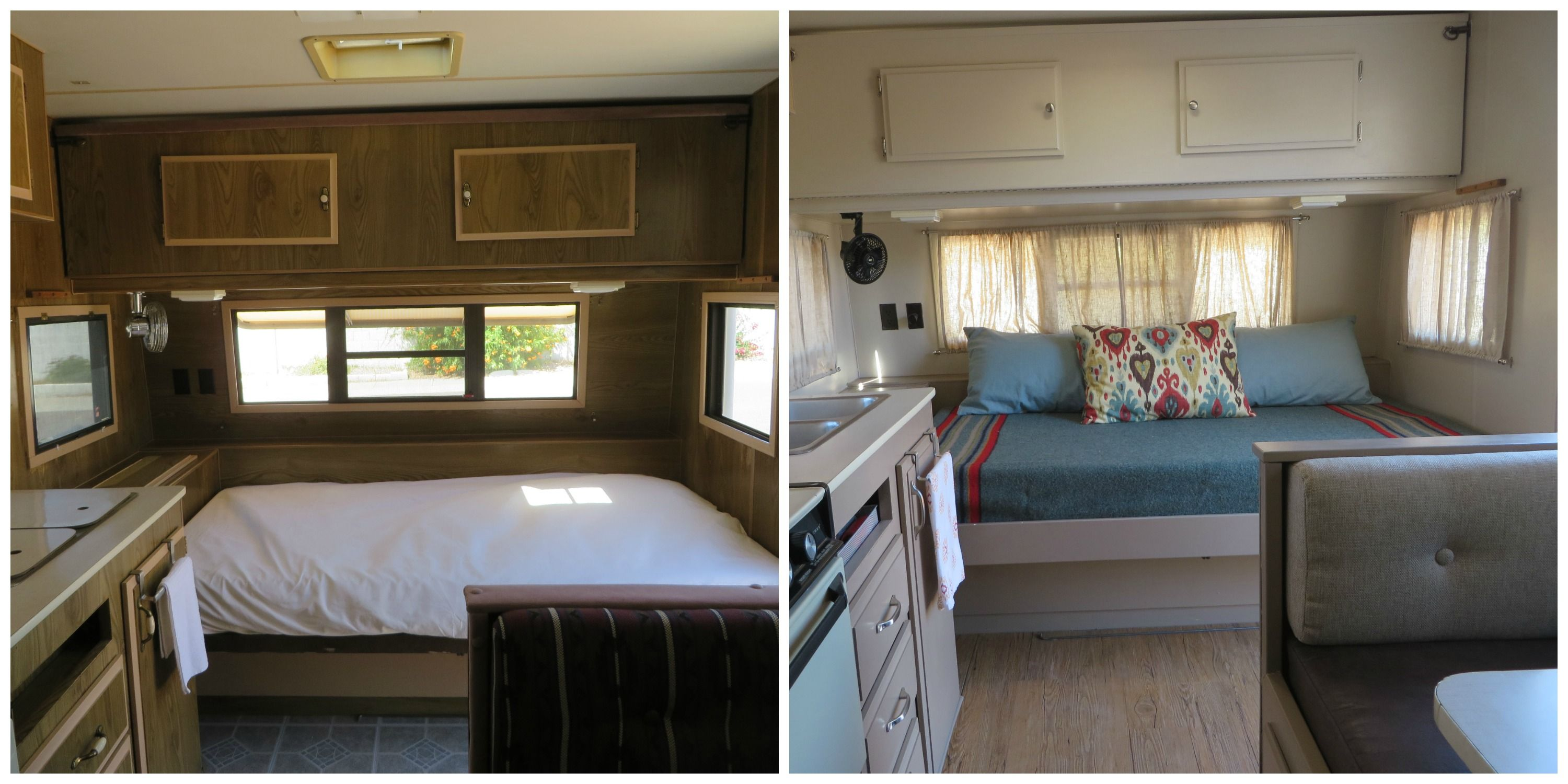 Trailer bed before & after Trailer living, Home decor, Bed