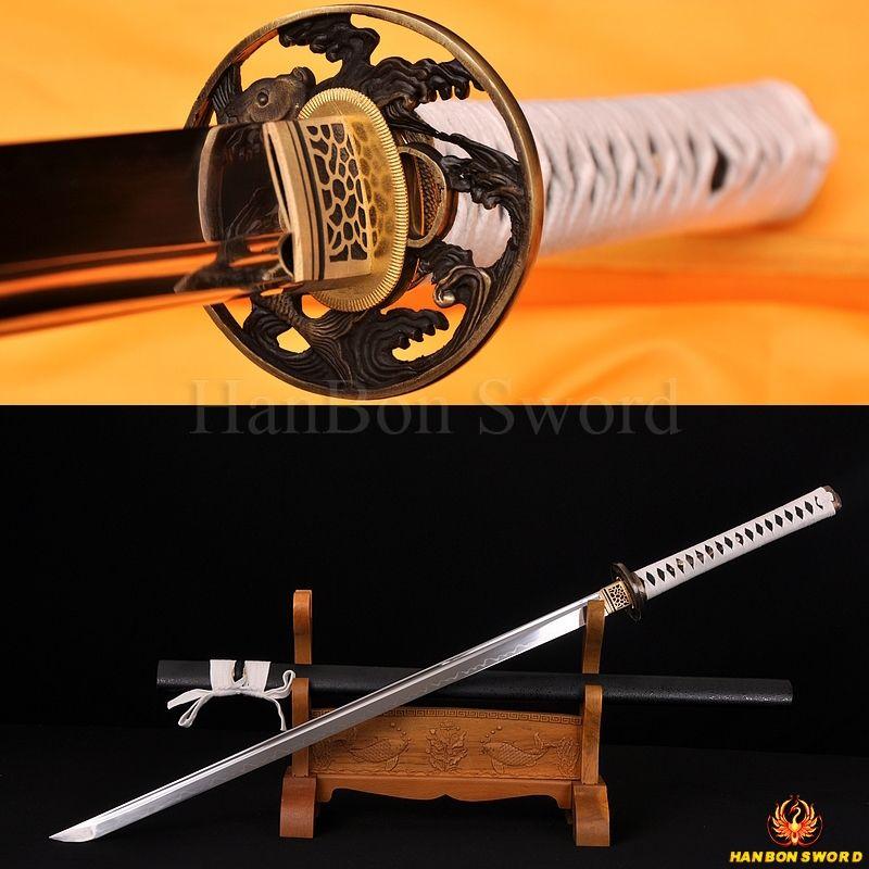 Clay Tempered Japanese Samurai Ninja Sword 1095 High Carbon Steel Full Tang Straight Blade Sharp Battle Ready  Fish Alloy Tsuba