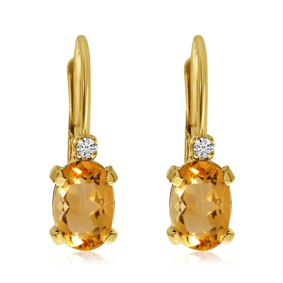 169 99 14k Yellow Gold Oval Citrine And Diamond Leverback Earrings Otoo Travel Portfolio