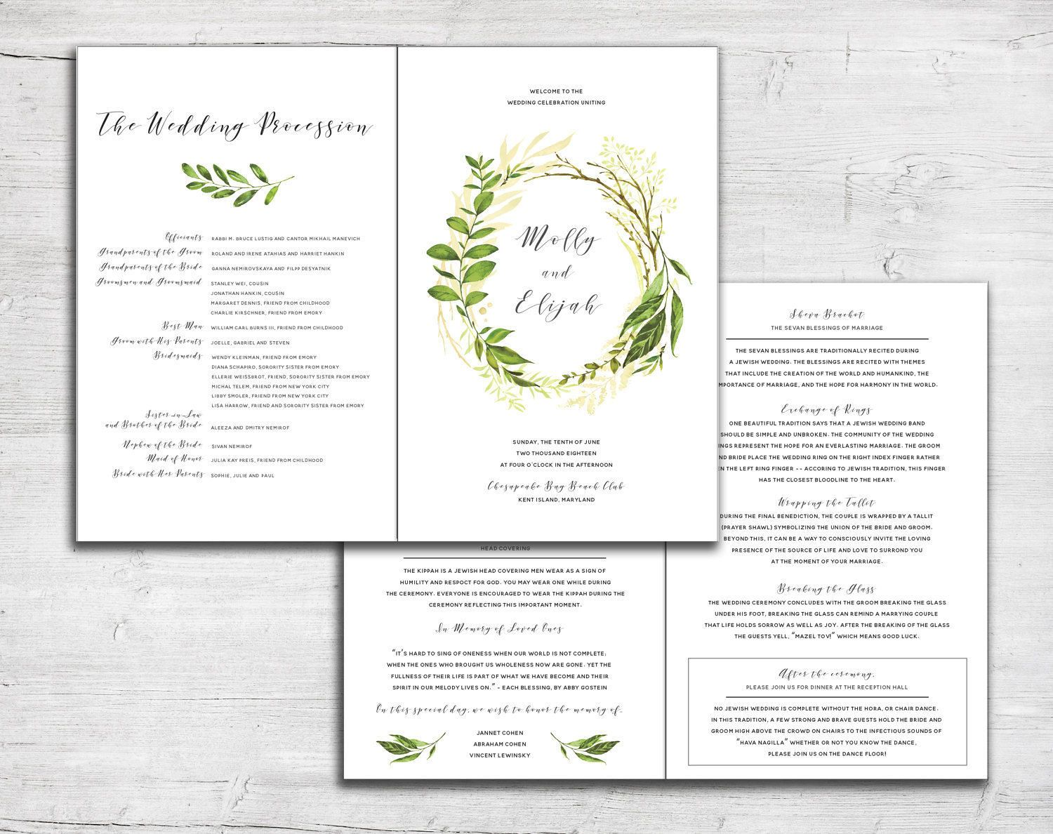 Greenery Leaves Folded Wedding Program For Jewish