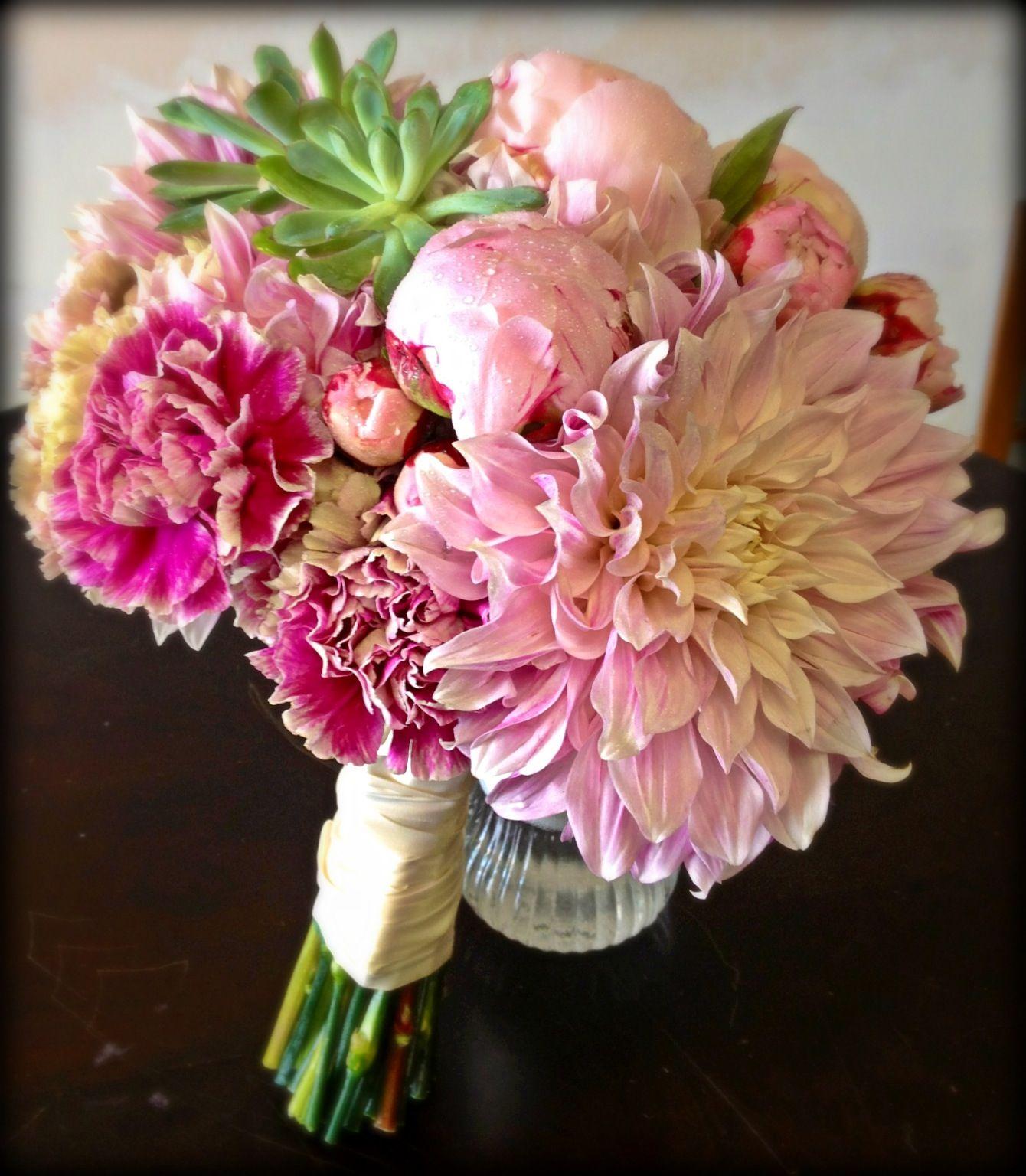 Cafe au lait dahlias, echeveria succulent, blush peonies ...