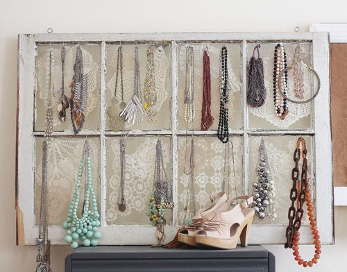 Decorating with old windows Window Jewellery display and